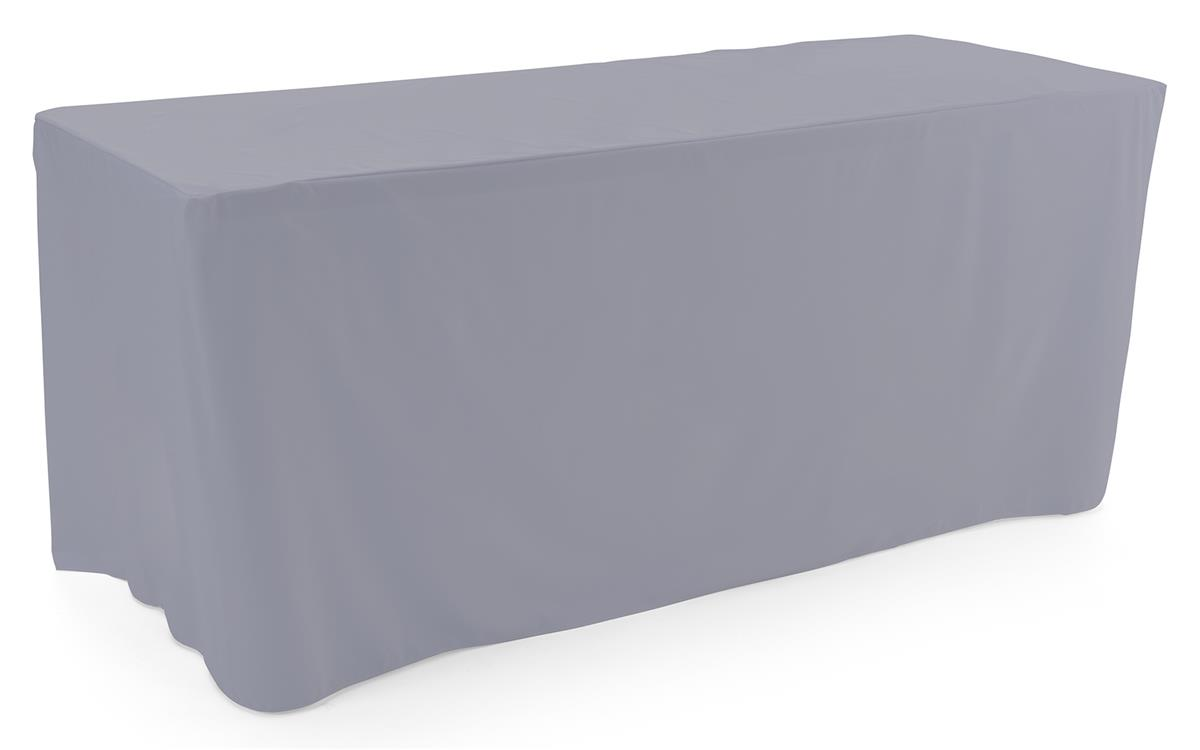 Gray trade show table throws