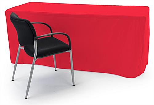 Trade show table throws with solid red coloring