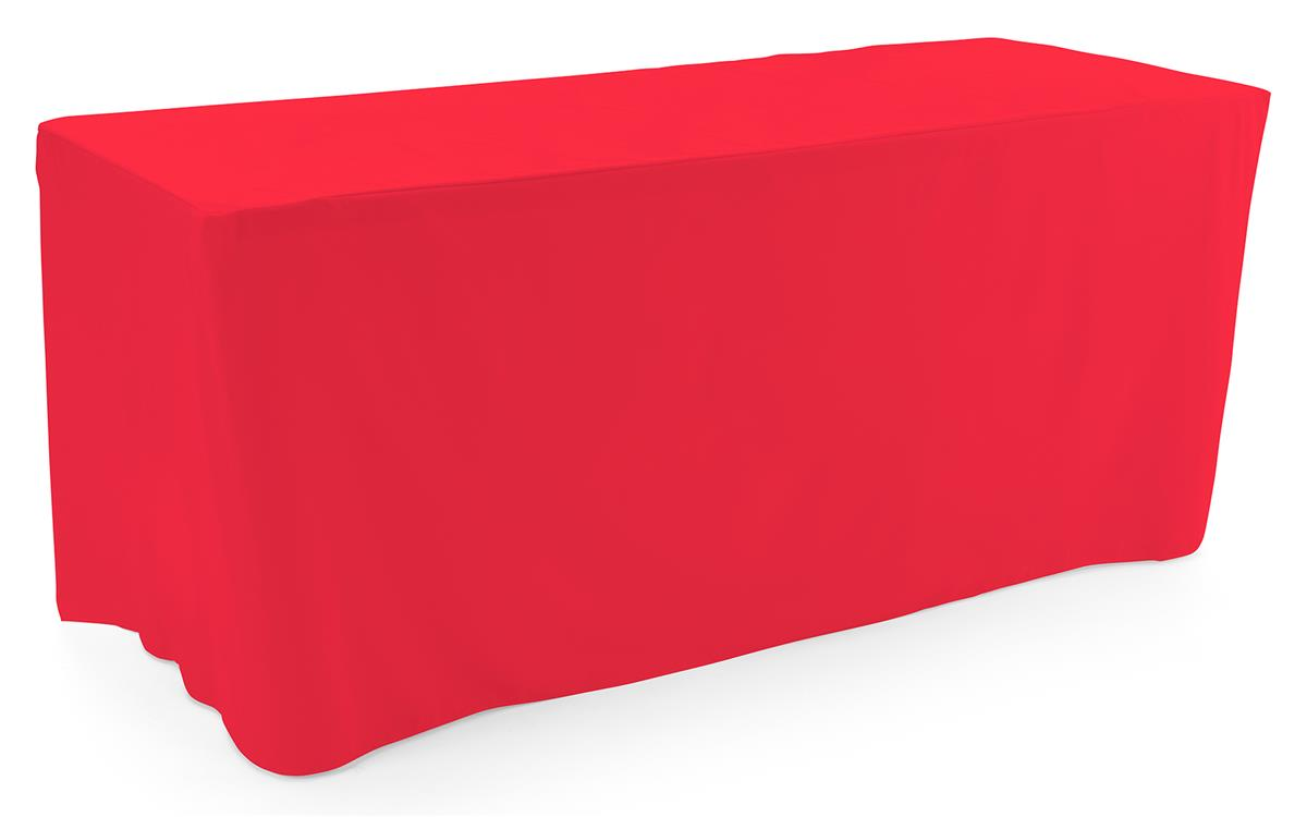 Red trade show table throws