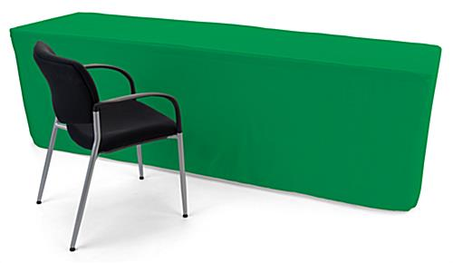 Kelly green trade show table throws cover 8 foot tabletops