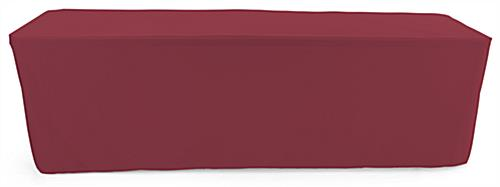 Burgundy trade show table throws for 96 inch long tabletops