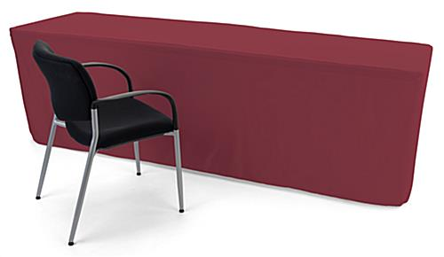 Burgundy trade show table throws with premium polyester fabric