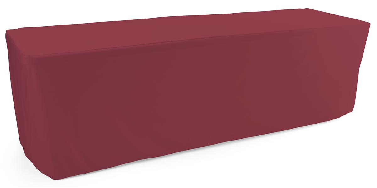 Burgundy trade show table throws measure 90 inches wide by 156 inches tall