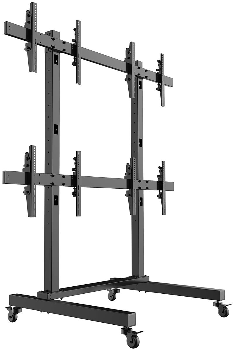 Quad Tv Display Stands Black Steel Fabrication