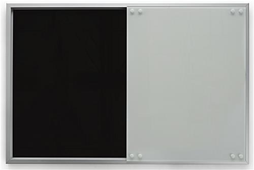 Magnetic Sliding Glass Whiteboard with Black Back Suface
