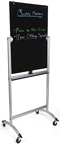 Rolling Magnetic Glass Dry Erase Easel, Works with Wet Erase Markers