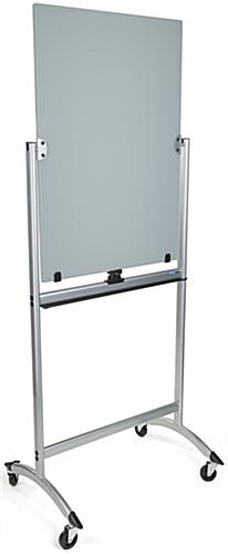 Gray Rolling Magnetic Glass Dry Erase Easel