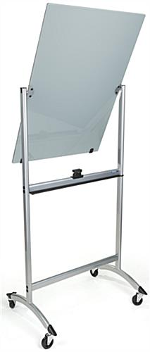 Rolling Magnetic Glass Dry Erase Easel with Flipping Board