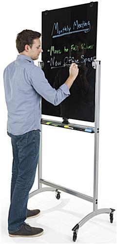 Tempered Rolling Magnetic Glass Dry Erase Easel