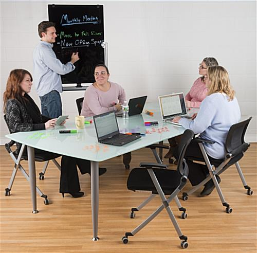 Rolling Magnetic Glass Dry Erase Easel for Corporate Settings