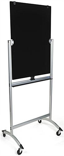 Black Rolling Magnetic Glass Dry Erase Easel
