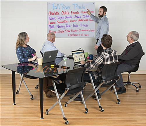 48 x 36 Magnetic Glass Whiteboard for Office Conference Rooms