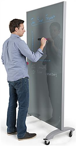 Tall Mobile Full Height Glass Whiteboard