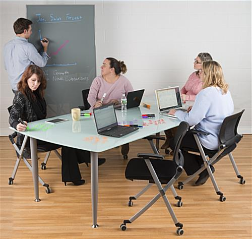 Mobile Full Height Glass Whiteboard for Office Use