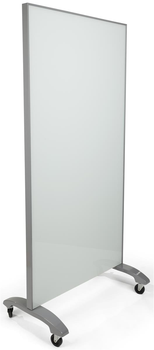 Mobile Full Height Glass Whiteboard Gray Amp White