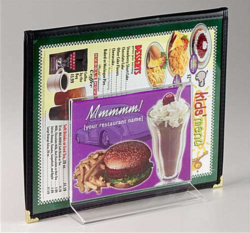 "Restaurant Menu Display 7"" Wide By 5"" High Acrylic"