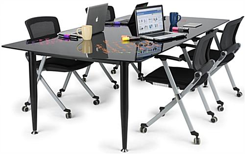 Black Glass Top Dry Erase Table with Spacious Design