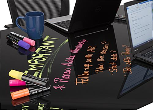 Black Glass Top Dry Erase Table with Wet Erase Markers