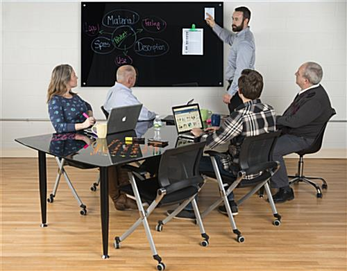 Black Glass Top Dry Erase Table with Frameless Surface