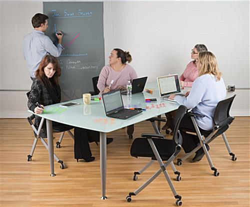 Frosted Glass Dry Erase Table with Frameless Design