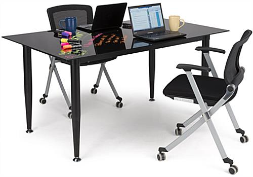 Black Glass Whiteboard Desk with Straight Frame