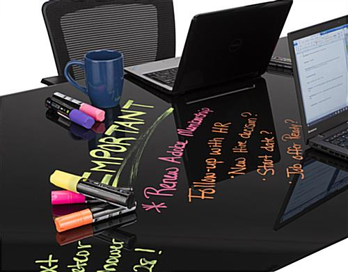 Black Glass Whiteboard Desk with Non-Ghosting Surface