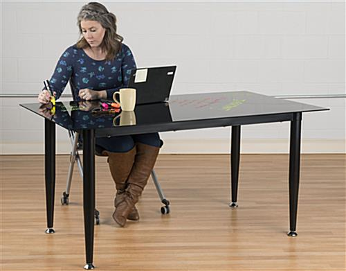 Black Glass Whiteboard Desk with Large Working Area