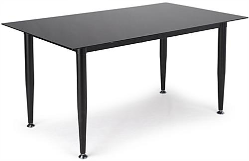 Black Glass Whiteboard Desk with Frameless Design