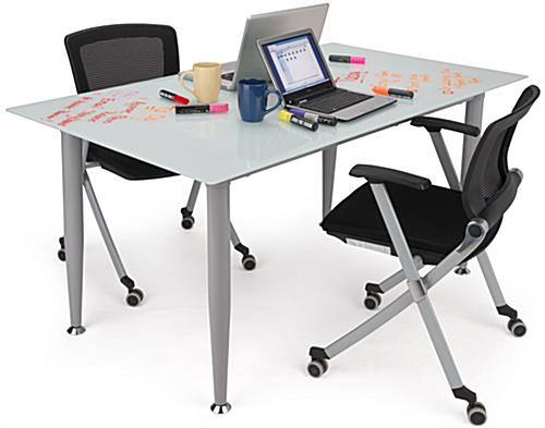 Frosted Glass Whiteboard Desk with Room For Two People