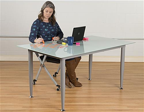Frosted Glass Whiteboard Desk with Frameless Design