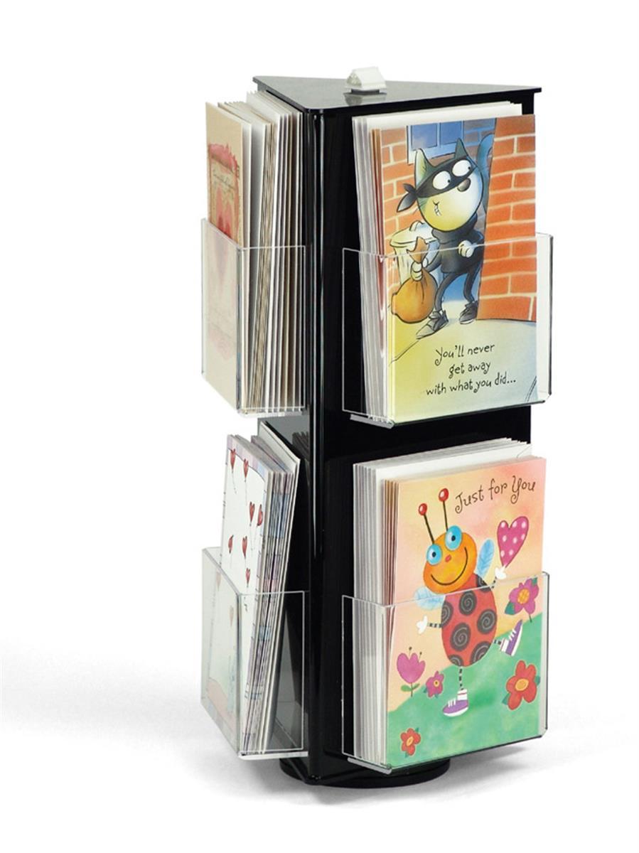 Workshop Series Rotating Greeting Card Display, Countertop, 5 Pockets -  Black