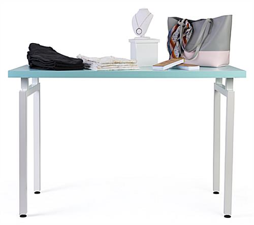 Light blue nestable merchandise display table