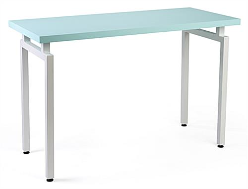White legged nestable merchandise display table