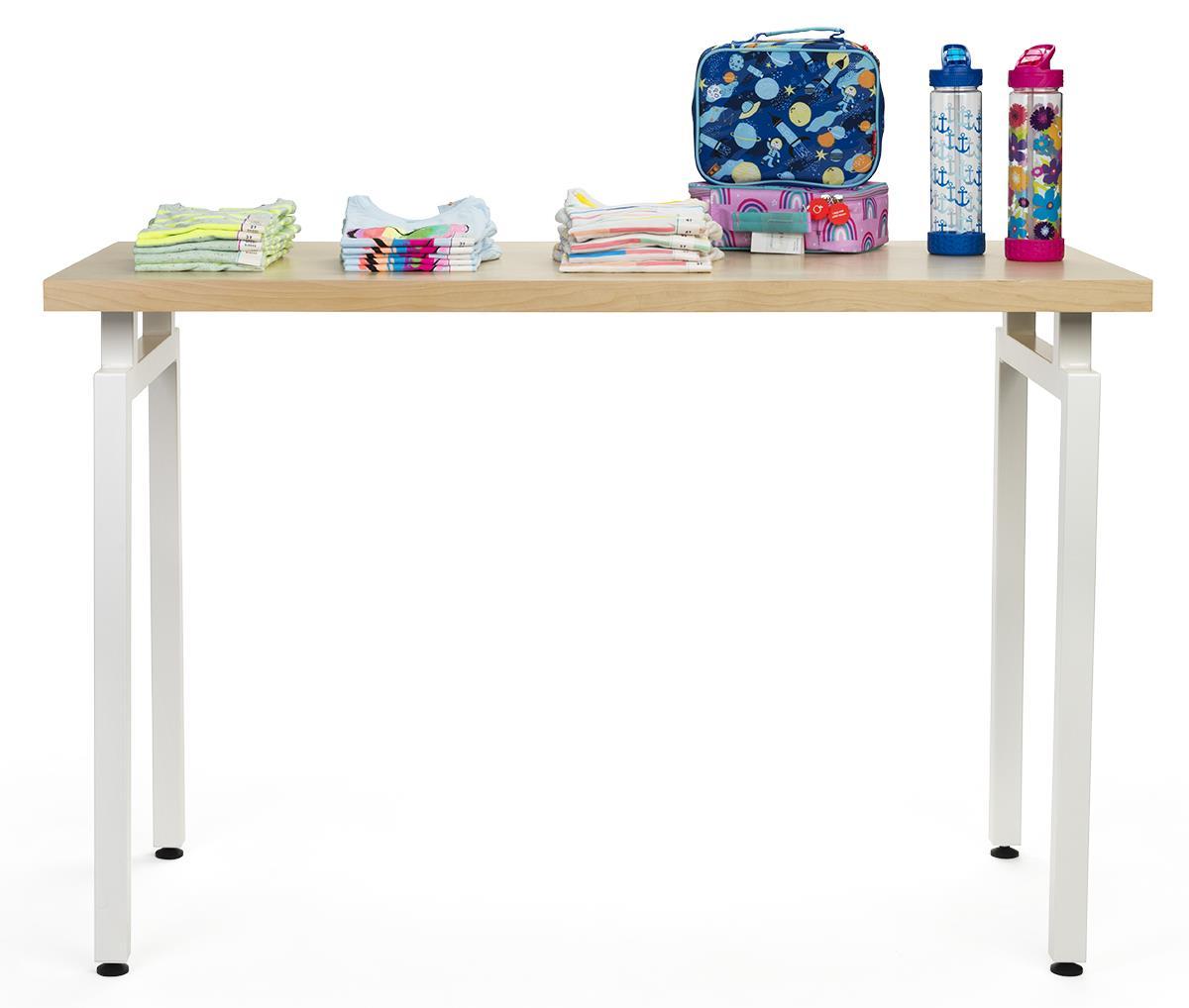 Groovy Wooden Retail Table With White Steel Legs Maple Uwap Interior Chair Design Uwaporg