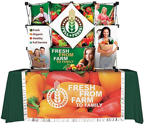 Pop up trade show displays with flame-retardant fabric
