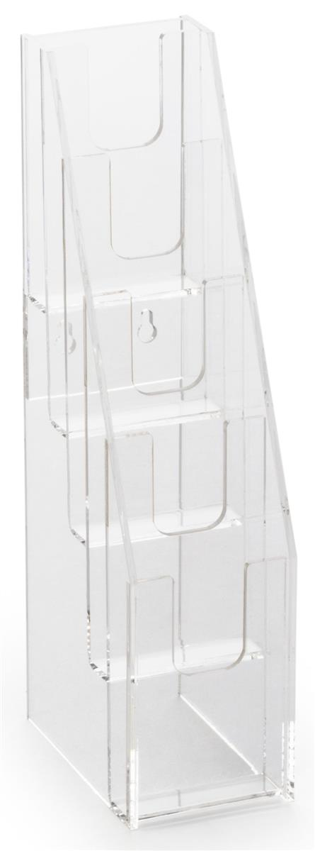 Displays2go 5-Tiered Acrylic Gift Card Display for Tabletops, with Notched Pockets - Clear