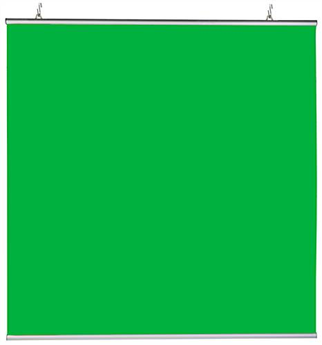 Hanging green screen backdrop with 2 aluminum snap rails included