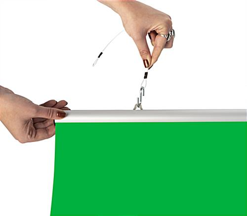 Hanging green screen backdrop with mounting hardware sold separately