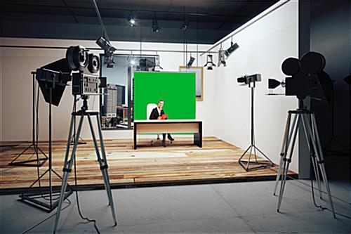 Hanging green screen backdrop with dye sublimation PMS 354 C