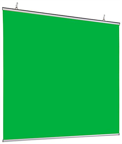 Hanging green screen backdrop with overall dimensions of 72 inches by 72 inches