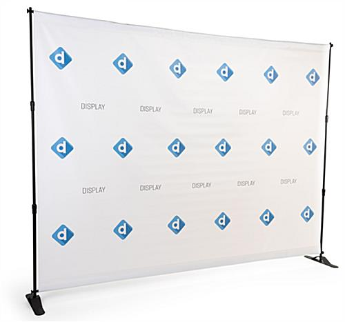 Step & repeat banner trade show package with matte finish used to reduce photo glare