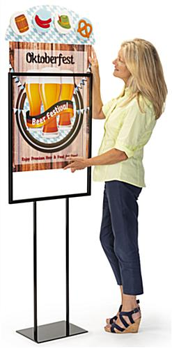 Dimensional advertising poster insert with drop in loading style