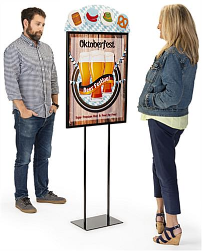 Double sided dimensional advertising poster insert features full color UV printed graphics