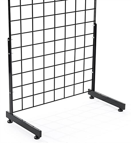 "Secure 1 display panel to the black ""L"" shaped gridwall base"