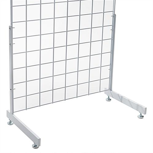 "Metal white ""L"" shaped gridwall base"
