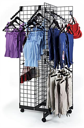 4-Sided Grid Rack with Waterfall Hooks