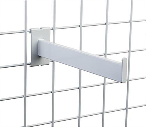 "Glossy white 12"" square tube gridwall faceout arm"