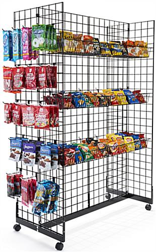 "Black Gridwall Gondola Display System with (50) 6"" Hooks"