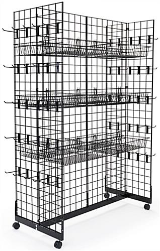 Black Gridwall Gondola Display System with H-Base
