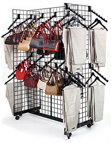 Gridwall Racks with Wheels & Waterfall Hooks